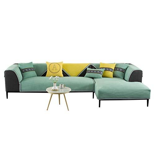 JIAGU Funda antideslizante para sofá de invierno con forro polar de maíz, moderno, simple, color sólido, cojín antideslizante para mascotas (color: verde, tamaño: 110 x 210 cm)