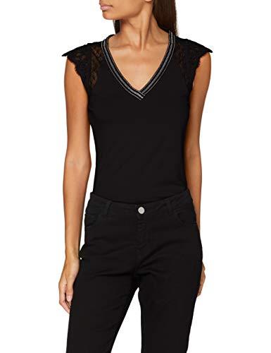Morgan T-Shirt Manches Courtes Dentelle Derna Camiseta, Negro, TXL para Mujer