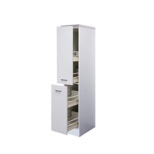 Flex-Well Midi-Apothekerschrank UNNA | Hochschrank | 2 Front-Auszüge, 4 Schubkästen | Breite 30 cm | Weiß