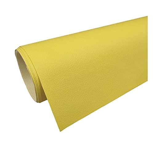 PVC Tela de Imitación de Cuero Patrón de Litchi Cuero para Reparación de Sofás Costura Elaboración de Proyectos de Bricolaje - (1 Pieza = 100Cm X160cm) - Amarillo,1.6x2m
