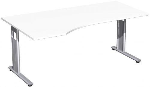 Geramöbel PC-Schreibtisch links höhenverstellbar, einseitig zurückgesetzt, 1800x1000x680-820, Weiß/Silber