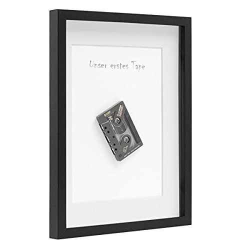 PHOTOLINI 3D-Bilderrahmen tief Objektrahmen 30x40 cm Schwarz zum Befüllen für Gegenstände mit Passepartout Modern