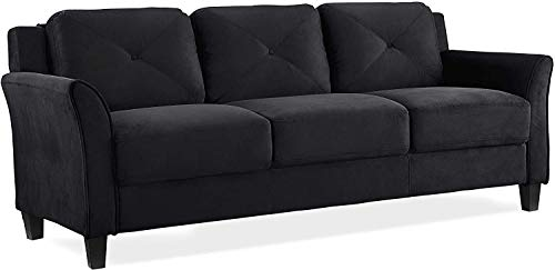 3 Seater Sofa Bed Line Fabric Sofa Couch Settee Sleeper withd 2 Free Cushions for Living Room