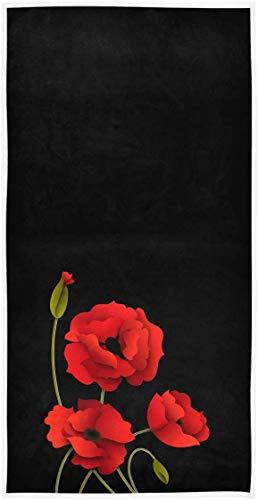 OMAJIG - Toallas de mano decorativas para el baño, hotel, gimnasio y spa (15 x 76 cm), color negro
