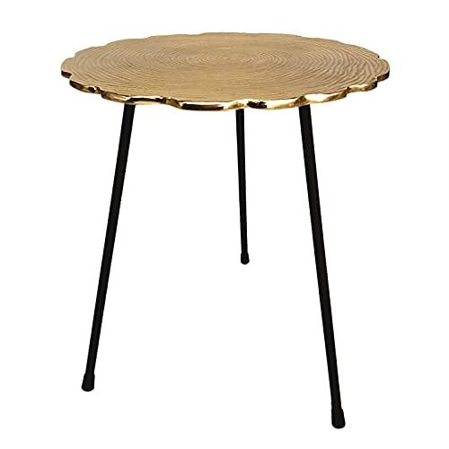 casamia Beistelltisch Metall Dekotisch Couchtisch rund o. eckig klassisches Design Aluminium Silber- o. Gold Farbe Hilton rund ø 35x46 cm vergoldet