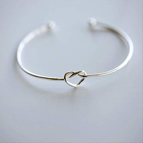 QINXI Reines Silber Liebe geknotet Armband Frau einfachen Schmuck feinen Ring gewebt herzförmige nlies glänzend offene Armband