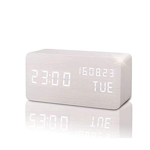 YUYANDE Simplicity LED Digital Alarm Reloj, Dual Alarma, 3 Brillo y Tonos de llamada, 12/24H, Reloj de cabecera con Senor de sonido incorporado, Temperatura, Snooze, Reloj portátil para Dormitorio, Ca