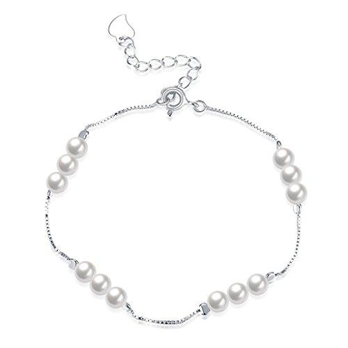 Pulsera de plata de ley con cuatro perlas blancas de agua dulce – Calidad AAA