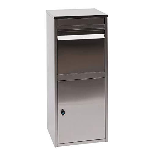 Mendler Paketkasten HWC-G80, Paketbox Standbriefkasten Paketbriefkasten Briefkasten ~ Edelstahl