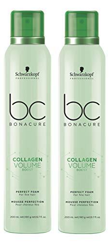 Lot de 2 flacons de collagène Volume Boost Perfect Foam Bonacure Schwarzkopf Professional pour cheveux fins 200 ml = 400 ml