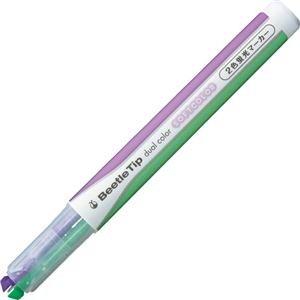 (まとめ) コクヨ 2色蛍光マーカー ビートルティップ ソフトカラー ソフトパープル×ソフトグリーン PM-L313-2-1P 1本 【×40セット】