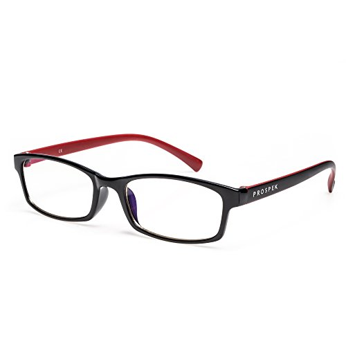 PROSPEK Computer Glasses - Blue Light Blocking Glasses - Professional (+0.00 (No Magnification) I Regular Size, Red and Black)