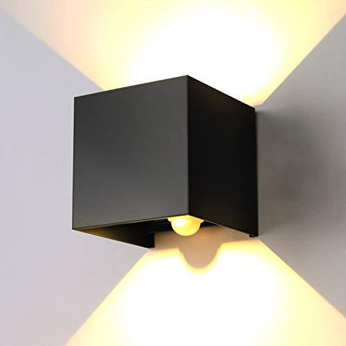 ENCOFT 12W Applique da Parete Esterno Interno con Sensore di Movimento LED, Lampada da Parete a Luce Bianco Caldo 3000K Angolo Su e Giù Regolabile, IP67 Impermeabile Nero