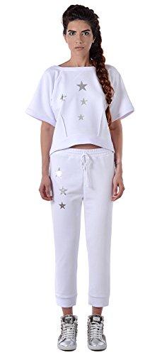 RED DECOCT dames sportpak/vrijetijdskleding lang sweatshirt/wit Silver Star