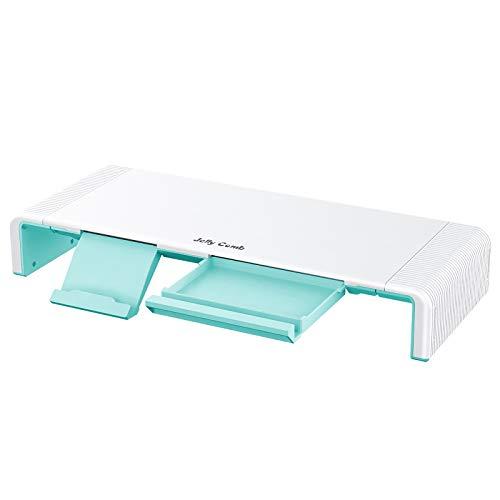 Jelly Comb Soporte para Monitor Ordenador para Pantallas Plegable Elevador Organizador de Escritorio Longitud Ajustable con Almacenamiento y cajón pequeño, Verde