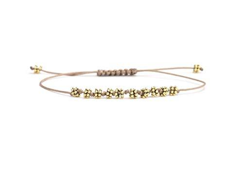 SCHOSCHON Damen Armband Blumen Gold-Taupe 925 Silber vergoldet // Geschenk Schmuck personalisierbar