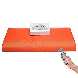 Jolisely Infrared Personal Sauna Blanket, Fast Sweating Professional Fitness Machine at Home for Weight Loss and Detoxification(with Button Battery/110V US Plug)(Orange)