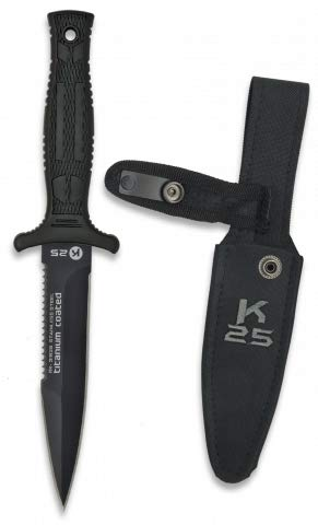Cuchillo K25 BOTERO Hoja 12,5 cm para Caza, Pesca, Camping, Outdoor, Supervivencia y Bushcraft K25 31825 + Portabotellas de regalo