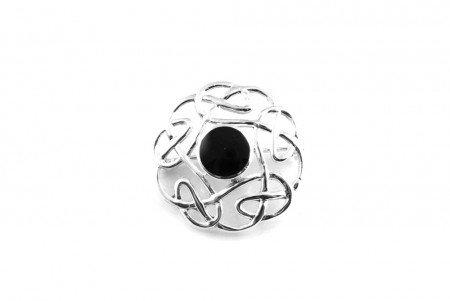 Silverspirit Jewellery Celtic Black Onyx Stone Set Silver Brooch