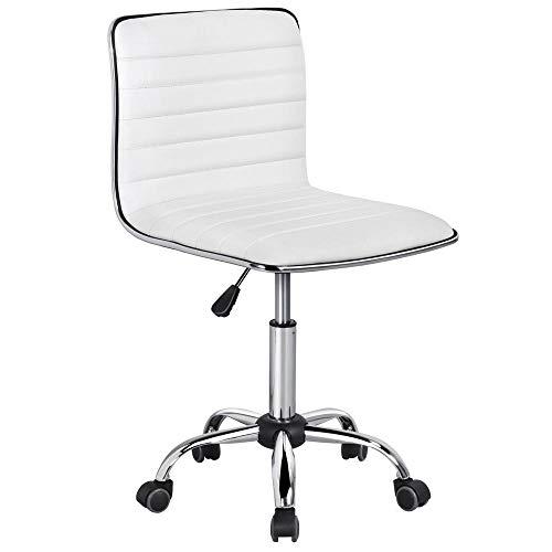 Yaheetech Bürostuhl Chefsessel Drehstuhl Kunstleder Ergonomischer Schreibtischstuhl höhenverstellbar Weiß