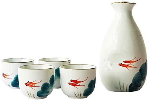GAOFQ High-End Porzellan Sake Cup Set im japanischen Stil Japanisches Sake Set, 5-teiliges Servierset mit weißem Sake, Goldfisch-Tuschemalerei, für kalten/warmen/heißen Sake/Shochu/Tee