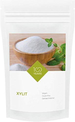100years - Xylit 1000g - kalorienreduzierter Zuckerersatz aus Birkenzucker, zahnfreundliche Zuckeralternative - abgefüllt in Deutschland - wiederverschließbarer Kraftpapier-Beutel ohne Aluminium