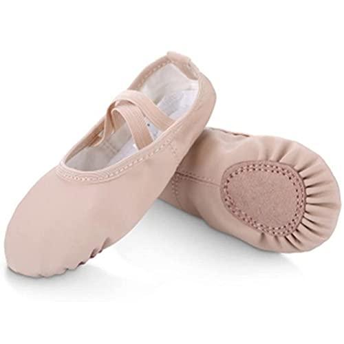 Zapatos de Ballet para niñas, Bordado de Cuero Ballet Pisos Suela de Danza Completa Solas para niñas para niños (Color : Pinkb, Size : 25 EU)