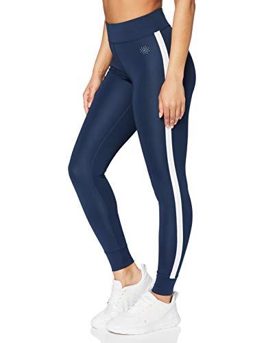 Marca Amazon - AURIQUE Leggings de Deporte con Banda Lateral Mujer, Azul (Dress Blue), 40, Label:M