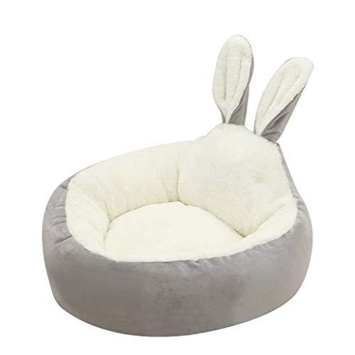 Judyd Warm Lovely Rabbit Ear Plush Pet Nest Doghouse Arena para Gatos Pet Sleeping Bed Nest, Grey Rabbit Ears Cat and Dog Plush Pet Nest, Gris