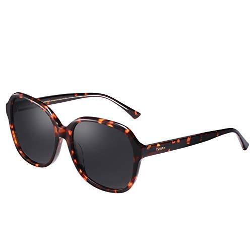 TSEBAN Vintage Damen Sonnenbrille UV 400 Polarisierte Brille für Fahren Golf und Freizeit (Oversized Rahmen: Schildpatt; Linsen: Grau)