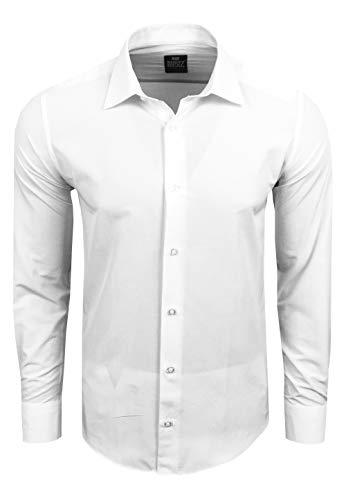 Rusty Neal Premium Basic Stretch Herren Hemd Business Slim Fit Schwarz & Weiß S - 4XL Langarm Hemden Uni Body-Fit 55, Farbe:Weiß, Größe:4XL