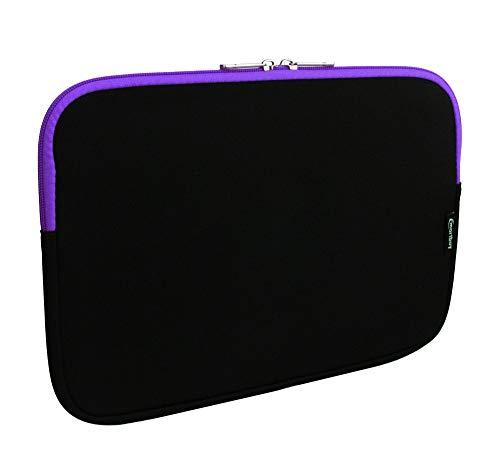 emartbuy Jet Schwarz/Lila Wasserdicht Neopren Soft Zip Case Cover Hülle 11-12.2 Zoll Kompatibel Mit Ausgewählte Geräte Unten Aufgeführt