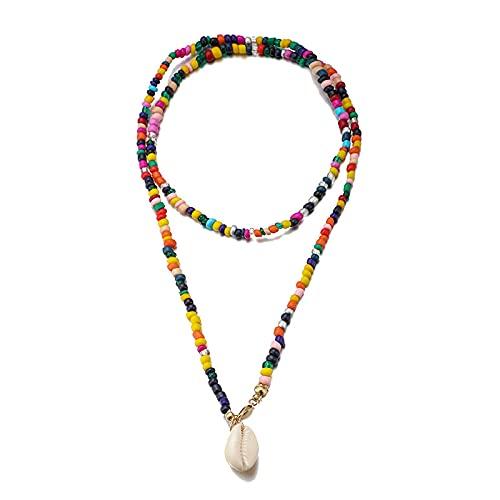 Collar Joyas Collar De Mujer Bohemio Colgante Colorido Collar De Cadena De Cuentas Collar De Concha Encantadora Fiesta Regalo De Cumpleaños Joyería Fe