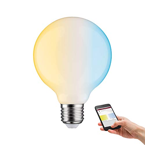 Paulmann 50396 SmartHome LED Lampe ZigBee G95 Filament TunableWhite Globe 7 Watt dimmbar Leuchtmittel Opal effizientes Licht Goldlicht bis Tageslichtweiß 2200-6500 K E27