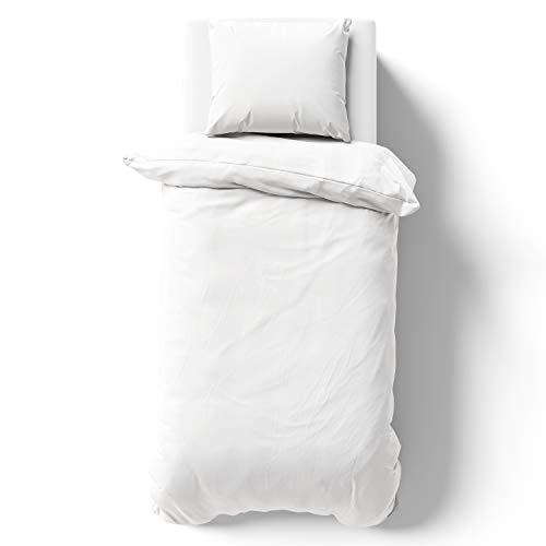 Melunda Renforcé Bettwäsche Set 155 x 200 cm mit 1 Kopfkissenbezüge 80 x 80 cm - Weiß - 100% Baumwolle mit YKK Reißverschluss - Oeko-TEX® Standard Zertifiziert