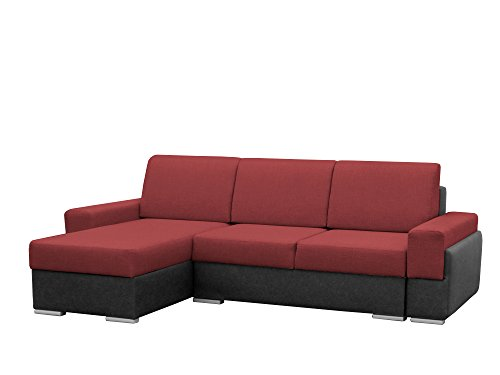 mb-moebel kleine Ecksofa Sofa Eckcouch Couch mit Schlaffunktion und Zwei Bettkasten Ottomane L-Form Wohnlandschaft Bruno (Rot + Schwarz, Ecksofa Links)