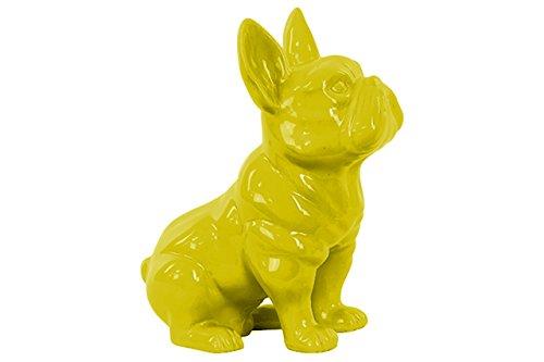 Urban Trends Ceramic Sitting French Bulldog Figurine with Pricked Ears Gloss Finish Yellow