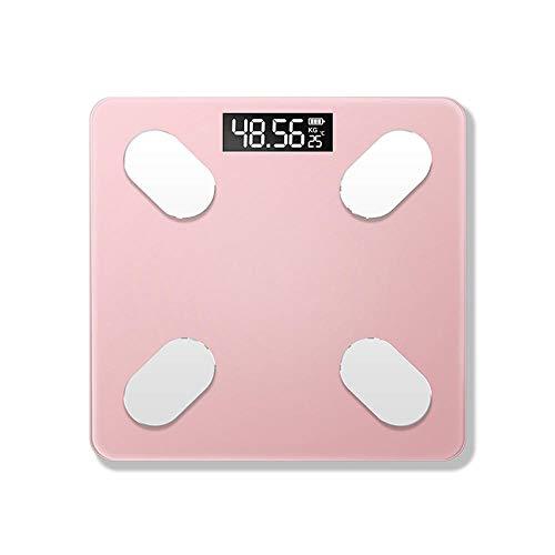 B/H Básculas de baño Inteligentes Digitales,Balanza electrónica Bluetooth-Rosa,Peso Digital Inteligente