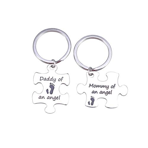 LUOEM Keychain Mommy Daddy of an Angel Keyring Set Miscarriage Keepsake Baby Memorial Gift