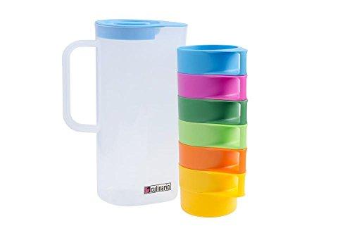 Culinario Partyset, 1,5 Liter Karaffe mit 6 bunten Tassen, ineinander stapelbar, ca. 16,5 x 10 x 24 cm