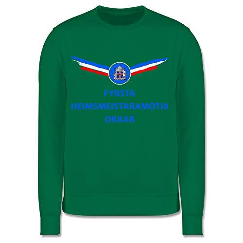 Shirtracer Fußball-Europameisterschaft 2020 Kinder - Unsere erste WM Island isländisch - 128 (7/8 Jahre) - Grün - Fan - JH030K - Kinder Pullover