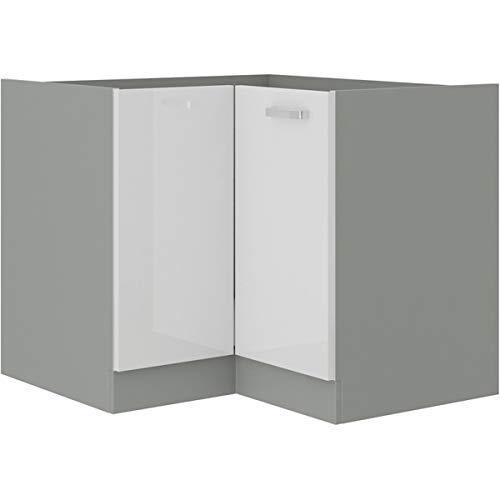 Eckunterschrank 89x89 cm Bianca Weiss Hochglanz + Grau Küchenzeile Küchenblock