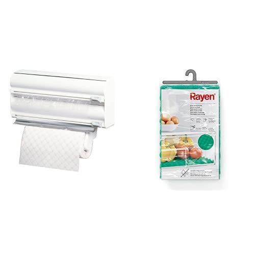 Rayen Portarrollos Triple de Cocina, Color Blanco, 38x10x25,5 + 6313.01 Base conservante para Nevera, 47 x 30 cm