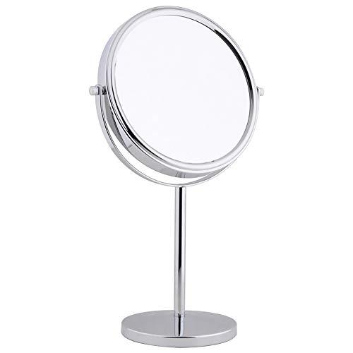 BZZBZZ Miroir De Maquillage Double Face De 6 Pouces (1 Face Commune + Miroir Grossissant en Verre Grossissant 5 Fois), Miroir De Rasage Portable