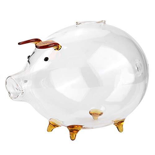 Rehomy Caja de ahorro de dinero, ahorro de moneda de cerdo de cristal transparente, caja de ahorro de dinero de alcancía, regalo para niños