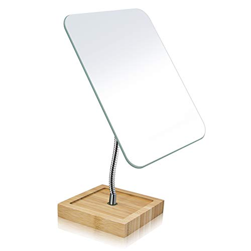 """Flexible Gooseneck Bamboo Vanity Makeup Mirror,360°Rotation 8"""" Small Standing Mirror for Desk, Easy to disassemble Frameless Vanity Mirror,Portable Table Tabletop Mirror for Office, Bedroom"""