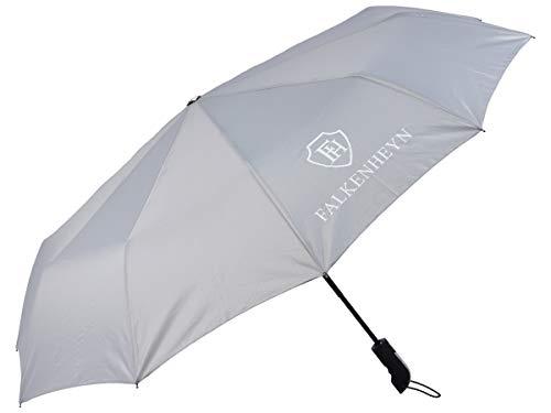 Falkenheyn REG-03 Parapluie de poche résistant aux intempéries et aux intempéries avec ouverture automatique et coupe-vent, gris (Gris) - 4059941115492