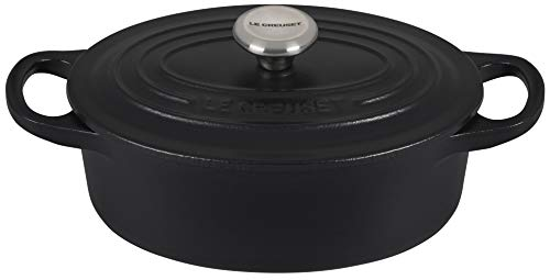 Le Creuset Enameled Cast Iron Signature Oval Dutch Oven, 1 qt., Licorice (Sand Interior)