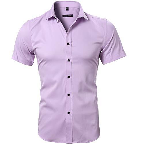 Camisas de Hombre de Manga Corta Color sólido Moda Casual Europea y Americana Personalidad Simple Cómoda Camisa clásica Retro Small