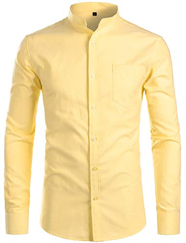 ZEROYAA Men's Hipster Mandarin Collar Long Sleeve Button Up Oxford Shirts with Chest Pocket Z112 Yellow Large